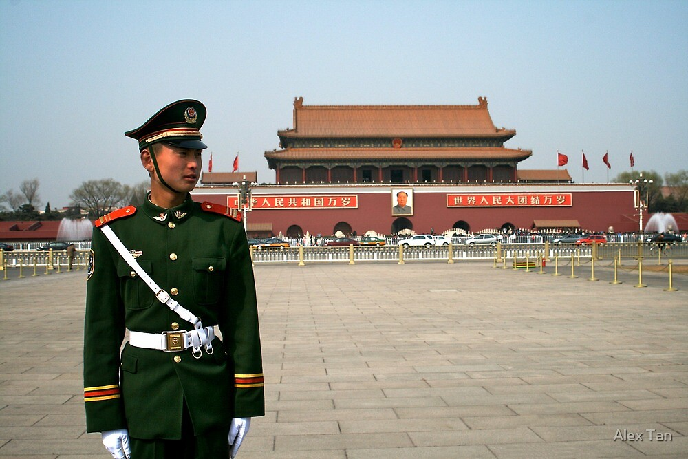 Standing to attention in Tian'an men square by Alex Tan