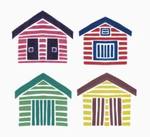 The Colorful Beach Houses One Piece - Long Sleeve