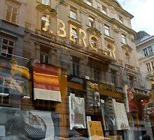 Double take in a bookshop window by Alex Tan