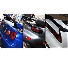 Honda NSX-R, Nissan Skyline GTR, Mazda RX7 Spirit-R collage Photographic Print