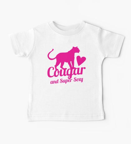 Cougar cat and Super Sexy! with love heart Baby Tee