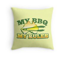MY BBQ MY RULES Aussie Australian map with tongs Throw Pillow