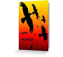 G:\Tee Shirt Designs\Happy Halloween Murder of Crows Against Sunset Greeting Card
