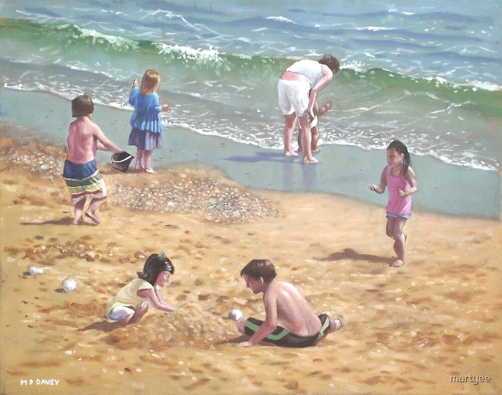 people on Bournemouth beach kids sand by martyee