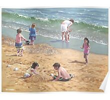 people on Bournemouth beach kids sand Poster
