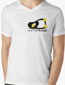 LINUX TUX THE PENGUIN Mens V-Neck T-Shirt