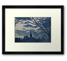 Norwich Cathedral and Tree, Cyanotype Framed Print