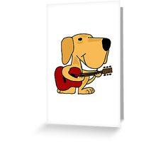 Funny Yellow Labrador Retriever Playing Guitar Greeting Card