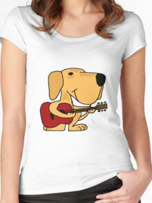 Funny Yellow Labrador Retriever Playing Guitar Women's Fitted Scoop T-Shirt