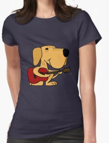 Funny Yellow Labrador Retriever Playing Guitar Womens Fitted T-Shirt