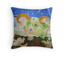 little girl sleeping Throw Pillow