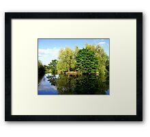 Reflection by the pond  Framed Print