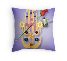 Hamsa and Flowers Throw Pillow