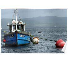 Fishing boat at anchor Poster