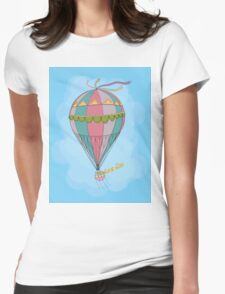 girl in an vintage hot air balloon Womens Fitted T-Shirt