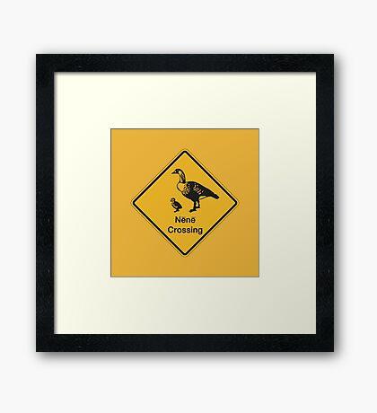 Nene Crossing, Traffic Warning Sign, Hawaii Framed Print