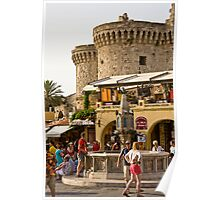 Rhodes Old Town Square Poster