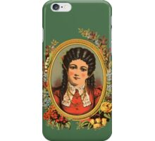 Vintage kitsch lady with black hair iPhone Case/Skin