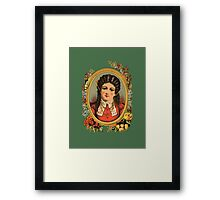 Vintage kitsch lady with black hair Framed Print