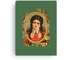 Vintage kitsch lady with black hair Canvas Print