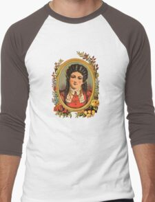 Vintage kitsch lady with black hair Men's Baseball ¾ T-Shirt