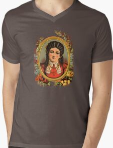 Vintage kitsch lady with black hair Mens V-Neck T-Shirt