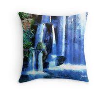 """Waterfalls in Blue"" Throw Pillow"