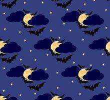 Black bats against the moon in the sky by kylmaviha