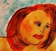 Self Portrait, watercolor by Anna  Lewis
