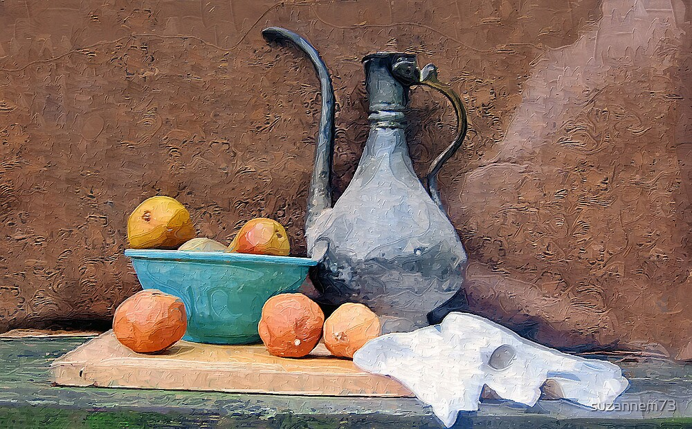 Metal Pitcher with Oranges and Pears by suzannem73