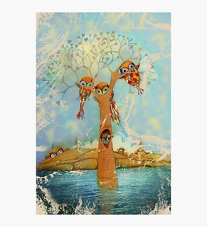 tree of love owls Photographic Print