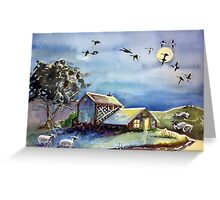 Hog Dog Greenhouse in the Moonlight with Sheep Greeting Card