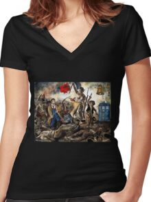 Liberty Leading the Doctor Tee Women's Fitted V-Neck T-Shirt