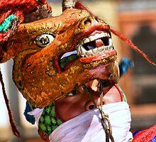 Masked Monk #1, Tashiling Festival, Eastern Himalayas, Central Bhutan  by Carole-Anne