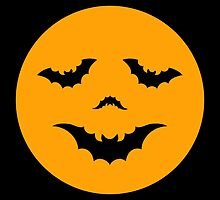 Halloween moon face with bats by beakraus
