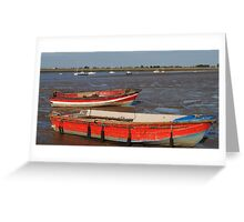 Two Red Boats Greeting Card