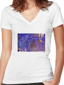 Blue marble - patterned texture background  Women's Fitted V-Neck T-Shirt