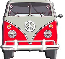 Volkswagen Van, RED, Camper, Split screen, 1966 Volkswagen, Kombi (North America) by TOM HILL - Designer