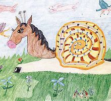 Snail Horse Penelope And The Clouds by pinkyjainpan