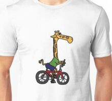 Funny Giraffe Riding Bicycle Unisex T-Shirt