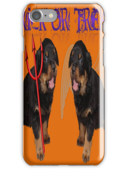 Cute Rottweiler Halloween Trick or Treat Greeting by taiche