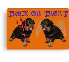 Cute Rottweiler Halloween Trick or Treat Greeting Canvas Print