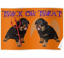 Cute Rottweiler Halloween Trick or Treat Greeting Poster