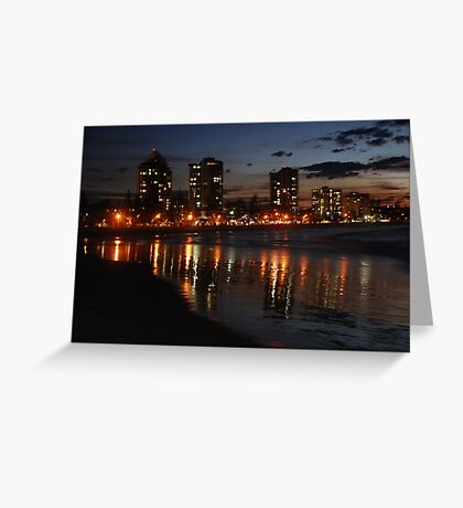 Wet Sand Reflections of Coolangatta Greeting Card