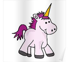 Funny Baby Unicorn with Purple Mane Poster