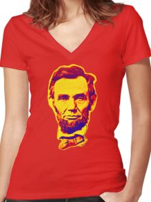 Bright Face Abraham Lincoln  Women's Fitted V-Neck T-Shirt