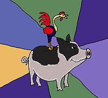 Funky Rooster on Grey and White Pot Bellied Pig by naturesfancy