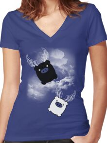 TWIN PIGS FLYING Women's Fitted V-Neck T-Shirt