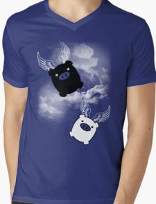 TWIN PIGS FLYING Mens V-Neck T-Shirt