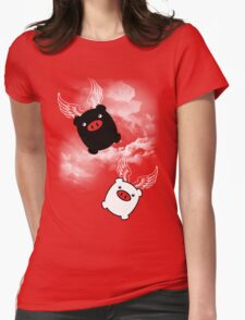 TWIN PIGS FLYING Womens Fitted T-Shirt